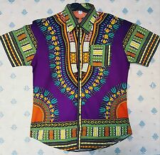 African men clothing dashiki wax  printing pure cotton short sleeve buttons