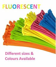 Cable Ties - Fluorescent BRIGHT Cable Ties / ZIP Yellow Orange Green Blue Pink