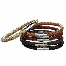 Mens Leather Bracelet Braided Leather With Stainless Steel Magnetic Clasp, CS-1