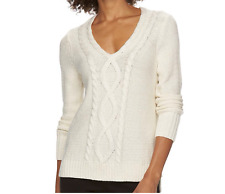 Chaps Women Size L XL Ivory Cable-Knit Sparkle Sweater Top Long Sleeve NWT $50