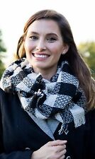 Funky Junque's Plaid Woven Checker Print Frayed Edge Winter Infinity Loop Scarf