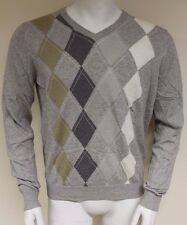 Burlington Men's L/S V-neck Fine Cotton Cashmere Argyle Sweater Size Large 60238