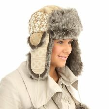 Ladies Girls Two Tone Trapper Winter Hat with Pom Pom and Faux Fur Trim