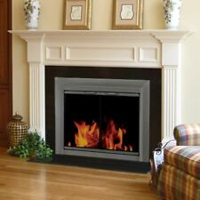 Pleasant Hearth Craton Cabinet Fireplace Screen and Smoked Glass Doors -