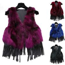 100% Real Rabbit with Raccoon Fur Vest V-Neck Waistcoat Retro Tassel Coat Jacket