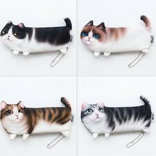 Cute 3D Cat Pencil Case Pen Makeup Cosmetic Bag Zipper Coin Pouch Purse Wallet