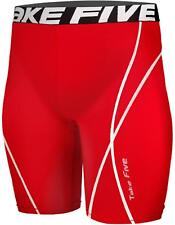Take Five Mens Red Compression Baselayer Gym Gear Short Pants Shorts Soccer