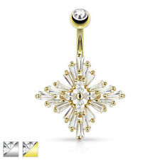 AF Surgical steel Belly button piercing Diamond cross with zirconia