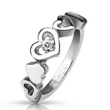 AF stainless steel Ring silver 0 1/4in wide Heart series Stones 47 15 57 18