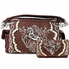 Justin West Wild Horse Embroidery Western Floral Conceal Carry Handbag Purse