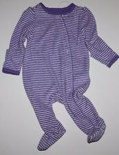 baby Gap NWT Girls Orchid Purple Striped Terry Cloth Footed Romper