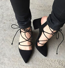 ZARA BLACK FAUX SUEDE LACE UP SHOES HEELS SANDALS EUR 37-40/ UK 4-7/ USA 6.5-9