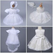 Baby Girls White/Ivory Dress Wedding Gown Christening Baptism Formal Dress 3-24M