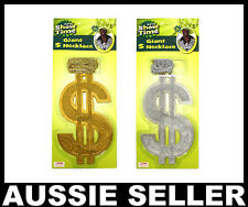 GIANT PIMP Dollar $ Sign Big Necklace Gangster 60s 70s Costume Rapper Party New