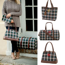 PERSONALIZED MONOGRAMMED GREEN PLAID TASSEL TOTE PURSE POUCH DUFFEL COSMETIC BAG