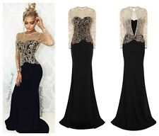 CELEB BLACK GOLD SPARKLE SLINKY FITTED MAXI FISHTAIL PARTY PROM DRESS 6 -18