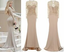CELEB NUDE GOLD SPARKLE SLINKY FITTED MAXI FISHTAIL PARTY PROM DRESS 6 -18