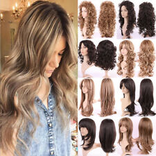 New Fashion Ombre Cosplay Wig Curly Wave Straight Synthetic Hair Full Head Wigs