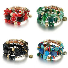Retor Colorful Agate Rhinestone Beaded Bracelet Boho Cuff Bangle Jewelry Gift