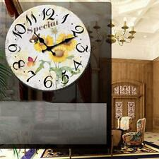 Vintage Wooden Wall Clock Shabby Chic Rustic Home Kitchen Antique Style 34cm