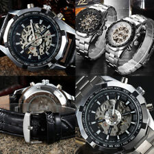 Automatic Watch Self-winding Skeleton Mechanical Stainless Steel Watch for Men