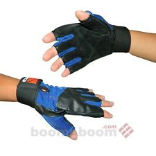 Leather Weight Lifting Gloves Half Finger Gym Fitness Gloves Cycling Gloves-BLUE