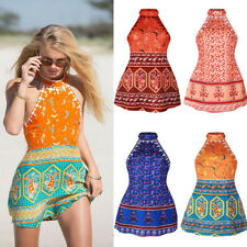 Women Summer Casual Halter Backless Dress Beach Evening Party Boho Mini Sundress