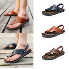 Summer Mens Sandals Leather Clip Toe Slippers Shoes Beach Casual Flip Flops HOT