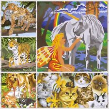 DIY Acrylic Paint by Numbers Kits Artist Oil Painting Dog Kittens Brush Canvas