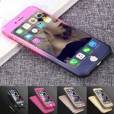 Ultra Thin 360°Full Body Protective Case For iPhone 7 6 6S Models Tempered Glass