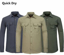 Mens Casual Quick Dry Jacket Fishing Shirt Anti-UV Sun Protection Hiking Shirts