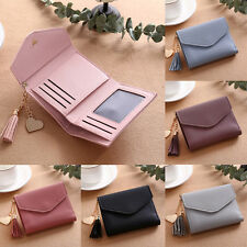 Women Mini Tassel Wallet Card Holder Clutch Coin Purse Leather Handbag Purse