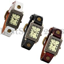 Retro Womens Quartz Square Dial Watches Fashion Leather Band Analog Wrist Watch