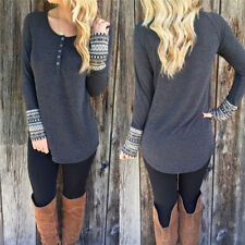Women Fashion Casual Loose T Shirt Long Sleeve Splice Round Collar Tops Blouse w