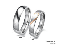 """Stainless Steel """"Real Love"""" Couple Promise Rings Heart-Shaped Titanium Steel"""