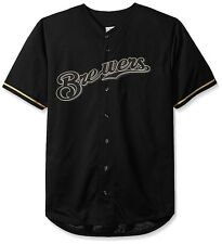 Milwaukee Brewers MLB Mens Majestic Black Fashion Jersey Big Sizes