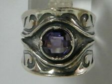 New SHABLOOL Ring Purple Amethyst Solitaire Jewelry Sterling Silver