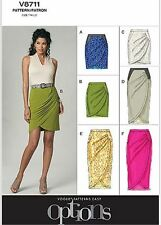 OOP VOGUE OPTION V8711 LADIES' FITTED, MOCK WRAP SKIRTS SEWING PATTERN SIZE 6-20