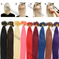 """20"""" Women's Pre Bonded Glue Nail/U Tip Remy Real Human Hair Extensions Straight"""