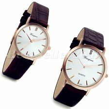 Fashion Mens Women Round Dial Leather Strap Quartz Sport Analog Wrist Watch Gift