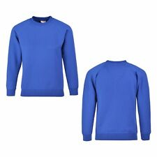 Girls Boys Kids Plain Crew Neck School Uniform Jumper Sweatshirt Top Age 2-12