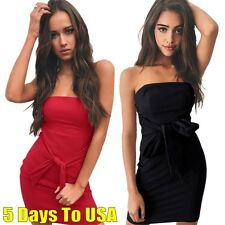 Sexy Women Off Shoulder Bandage Bodycon Club Party Corset Dress Casual Mini Robe