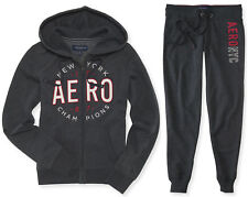 AEROPOSTALE WOMENS HOODIE AND SWEAT PANTS SET NYC AERO ZIP JOGGING SUIT JOGGER