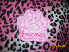 PET DOG CAT FLEECE BLANKET PERSONALIZED Handcraft 45x60in large dk pink leopard