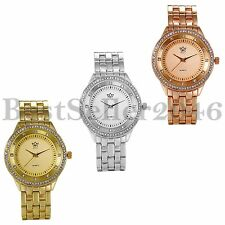 Luxury Mens Womens Rhinestone Dial Quartz Stainless Steel Analog Wrist Watch