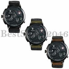 Military Dual Time Zone Quartz Big Dial Nylon Strap Men Sport Analog Wrist Watch