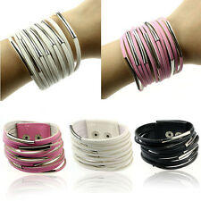 Fashion Ladies Bangle Bracelet Leather Multilayer Wristband Cuff ladies Bangle