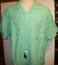 NEW Polo Ralph Lauren Linen Silk blend green short sleeve button front shirt 2XB