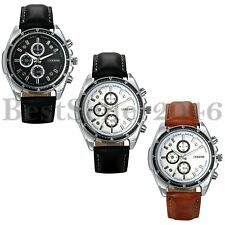 Fashion Business Men's Stopwatch Leather Strap Sports Quartz Analog Wrist Watch