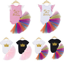 Baby Girl 1st Birthday Outfit Crown Romper Tutu Skirt Dress Headband Clothes
